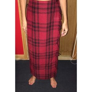 Black and red plain wrap skirt